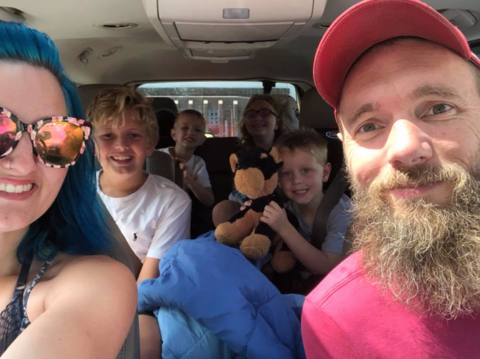 Katie with her family on a road trip
