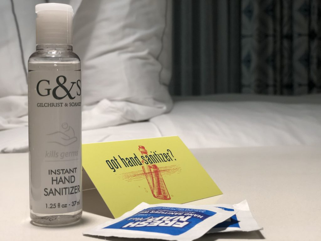 Complimentary sanitizer at The Reach