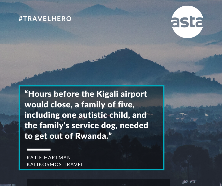 Hours before the Kigali airport would close, a family of five, including t