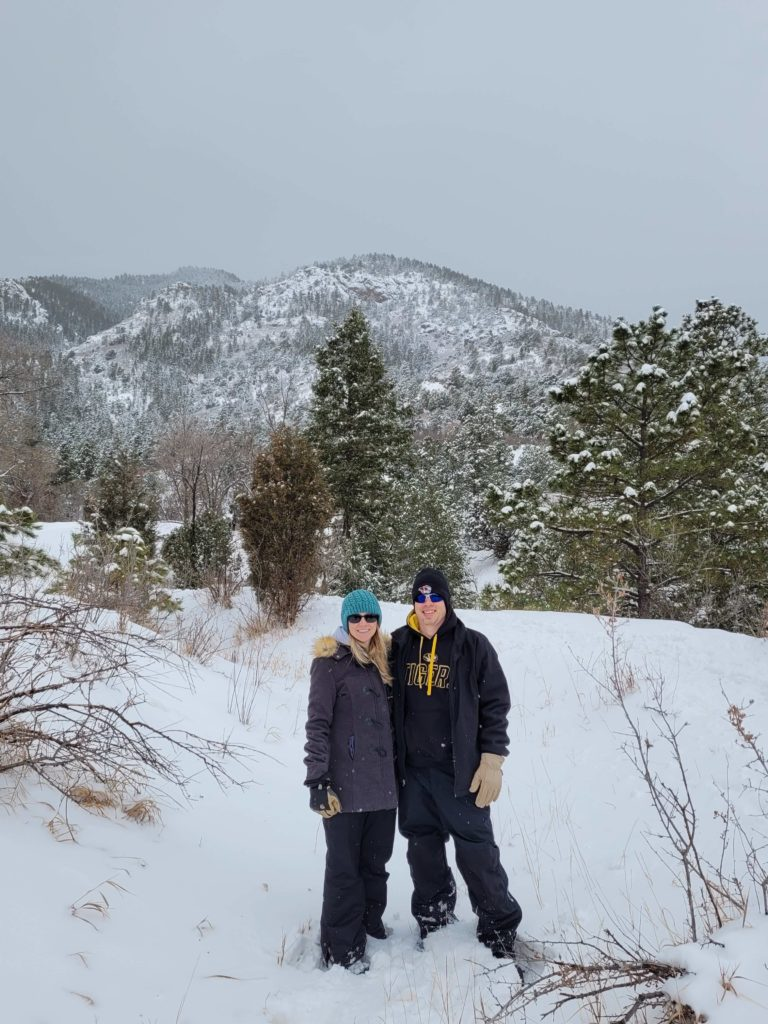 Julie and her husband, Chris, on a trail in Colorado.
